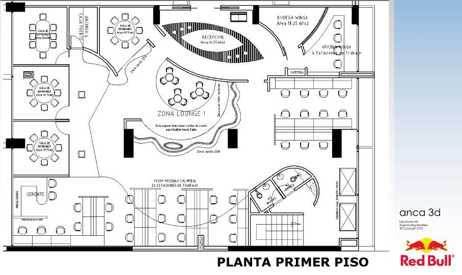 Dise o oficinas redbull colombia for Diseno de oficinas pequenas planos